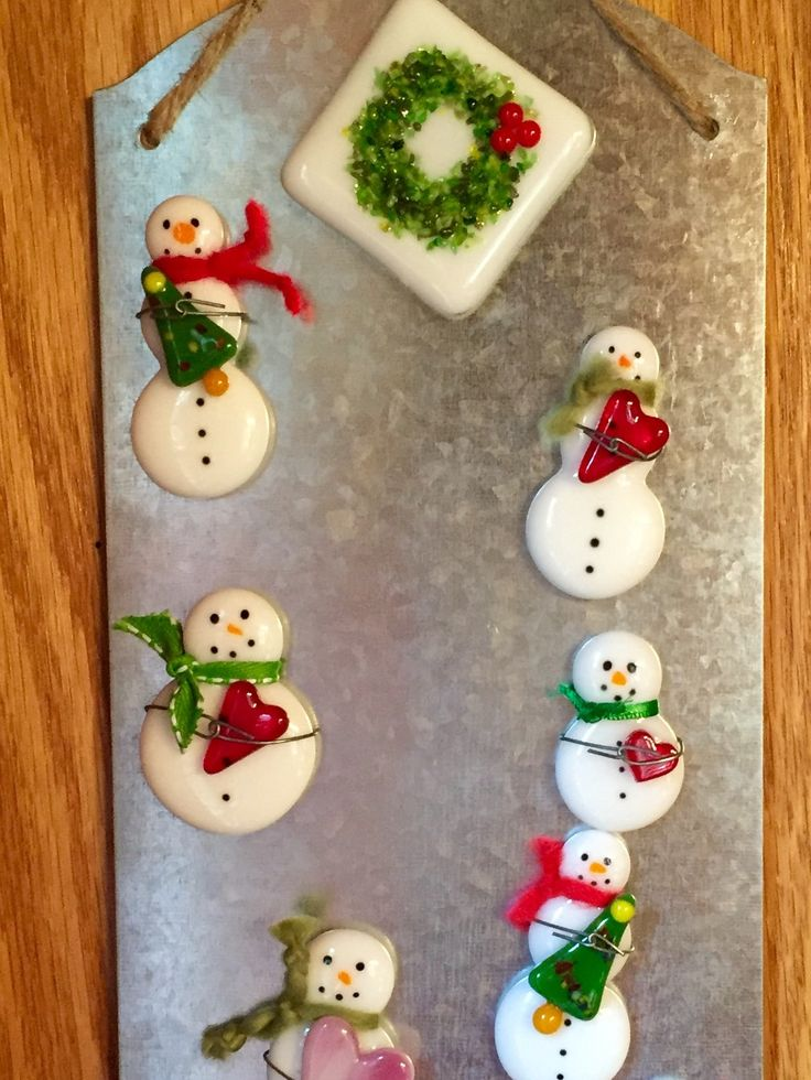 Fused Glass Snowmen