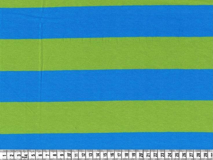Stræk jersey ØkoTex stof; Brede striber, turkis/limegrøn pr. 0,25 m. - STOF og STUFF - kreativ livsstil   Stof, metervarer og tekstiler.