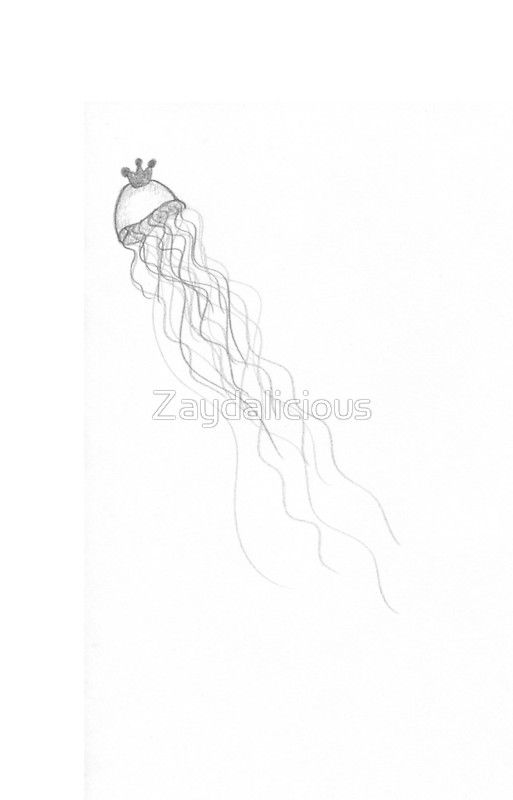 Princess Jellyfish An homage to the anime. A crowned jellyfish with flowing tentacles. Available on mugs, notebooks, stickers, laptop cases and skins, phone cases, iPad cases, and more.