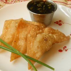 Grandma's Crispy Pork Wontons Recipe - definitely make a dipping sauce, and remember to flatten the pork filling a bit so it cooks all the way through (time consuming, but good!)