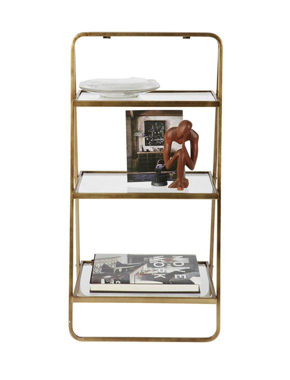 Tolles, vielseitiges Möbel von de Eekhoorn! Die große Etagere aus Metall in Messing lackiert hat 3 Glas Ablagen. Gleich Bestellen!