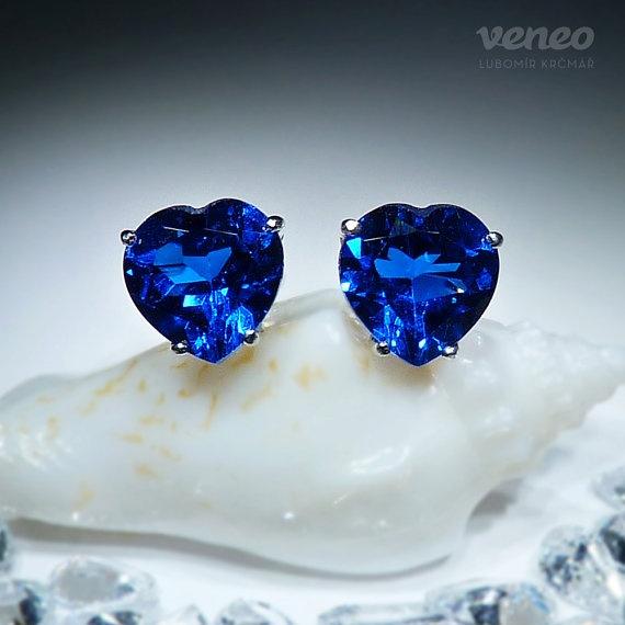 Little Heart. Handmade Silver or Gold Sapphire Earrings by Czech Jewelry Veneo, $52.00
