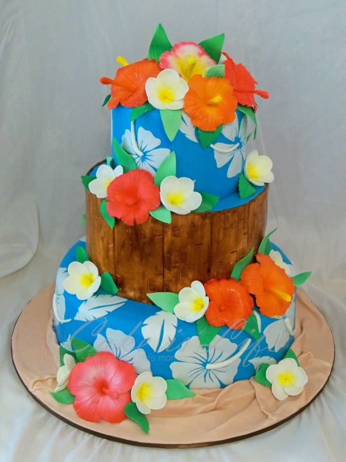 tropical themed wedding cake by cake is life