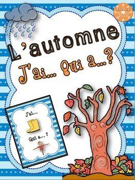 """French Fall (automne) - jeu """"j'ai... qui a...?"""" game. 30 cartes pour pratiquer le vocabulaire de l'automne ainsi que la lecture et la communication orale en s'amusant."""