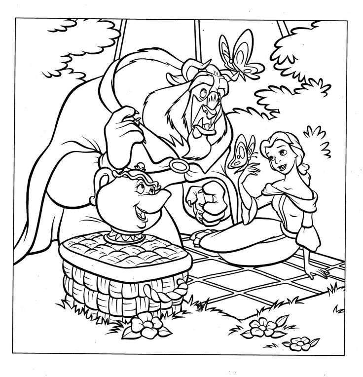 Coloring Pages Disney Princess Frozen : 41 best beauty and the beast coloring pages images on pinterest