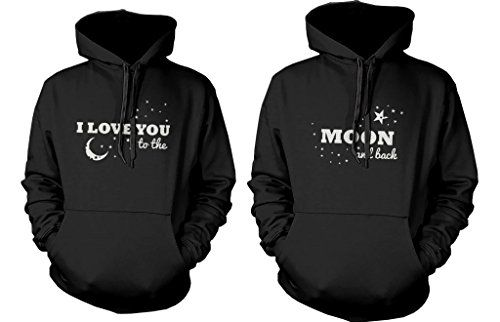ec72019d8729 Matching Couple Hoodies - I Love You to the Moon and Back - Couple Sweatshirts  love