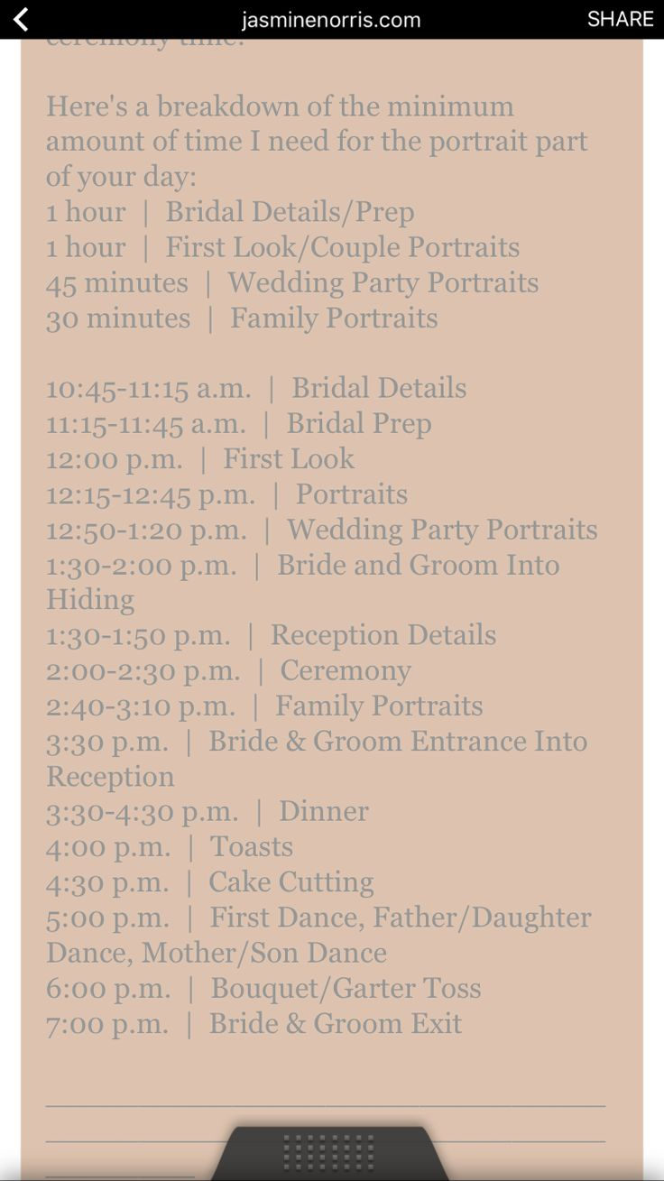 sample timeline for a 2pm wedding adjust as needed day schedule event planning