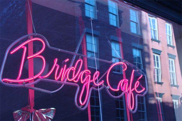 Bridge Cafe.  Under Brooklyn Bridge since late 1700s.  (Get panko crusted chicken.)