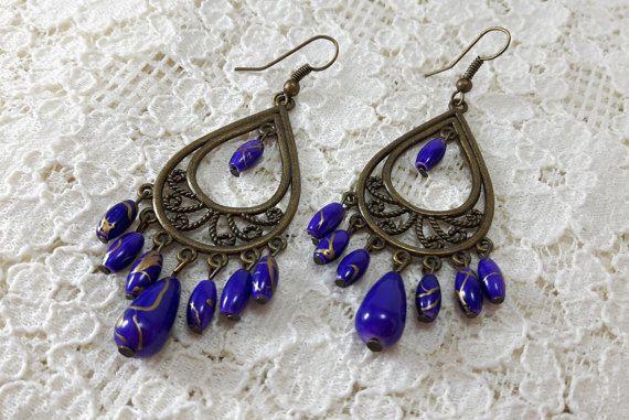 Purple Boho Chic EarringsGypsy by LaLannaThai on Etsy