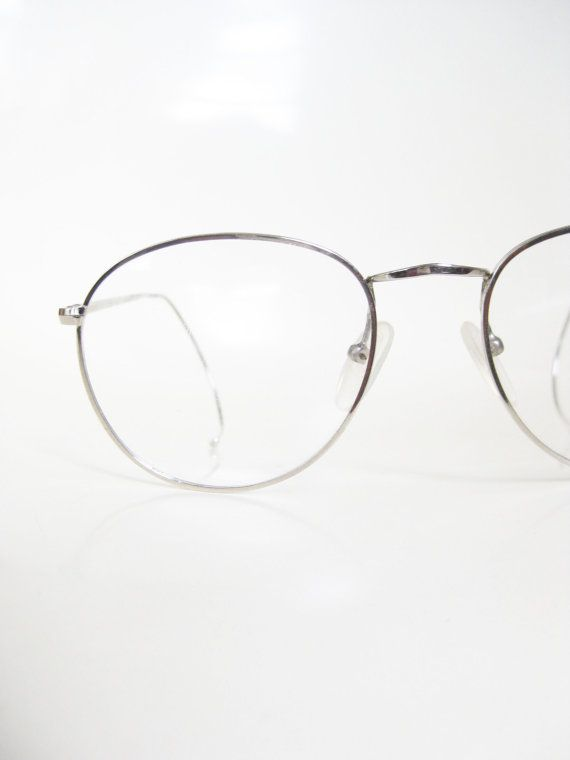 dfa4cb78ba2 Round Wire Rim Mens Glasses Silver Metallic P3 Eyeglasses Eyeglass Frames  Geek Chic Nerdy Guys Homme 1980s 80s Eighti…