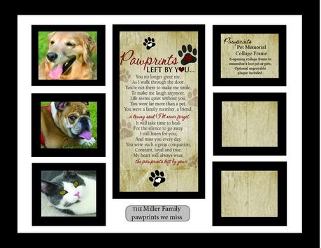 pawprints memorial pet collage frame pawprints left by you - Dog Memorial Picture Frames