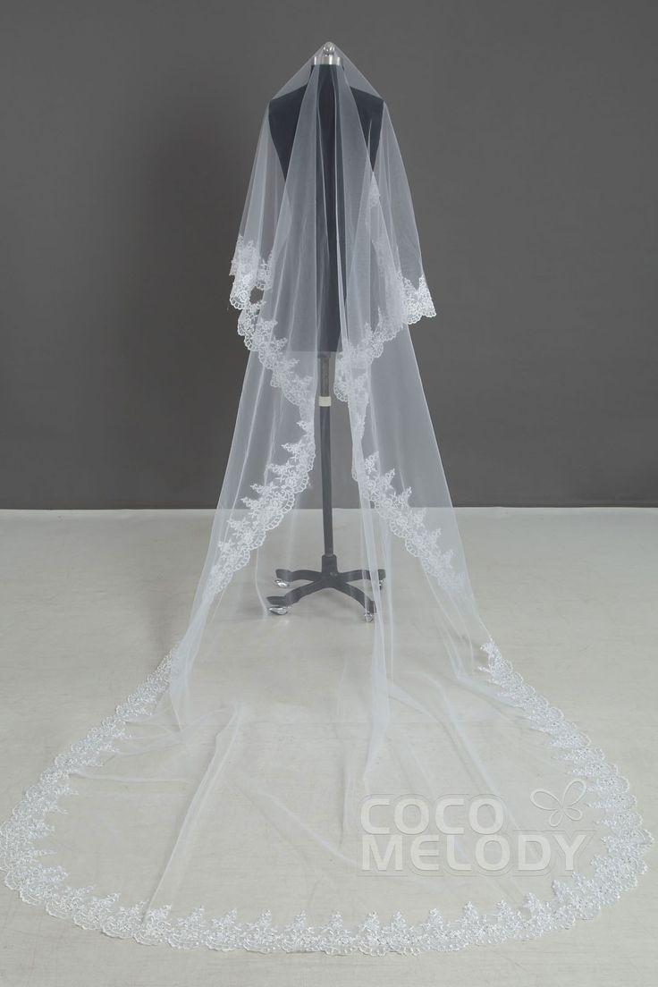 Classic One-tier Lace Edge White Cathedral Veils AC1085 #weddingessentials #weddingaccessories #cocomelody#weddingveils