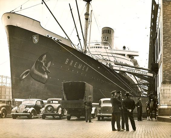 Norddeutscher Lloyd BREMEN delayed by US authorities before her final NY departure, August 1939 via Todd Neitring