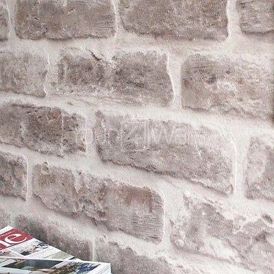 SALE £2 OFF'Brick House' wallpaper Stone Brick Effect Wallpaper in Stone & Cream