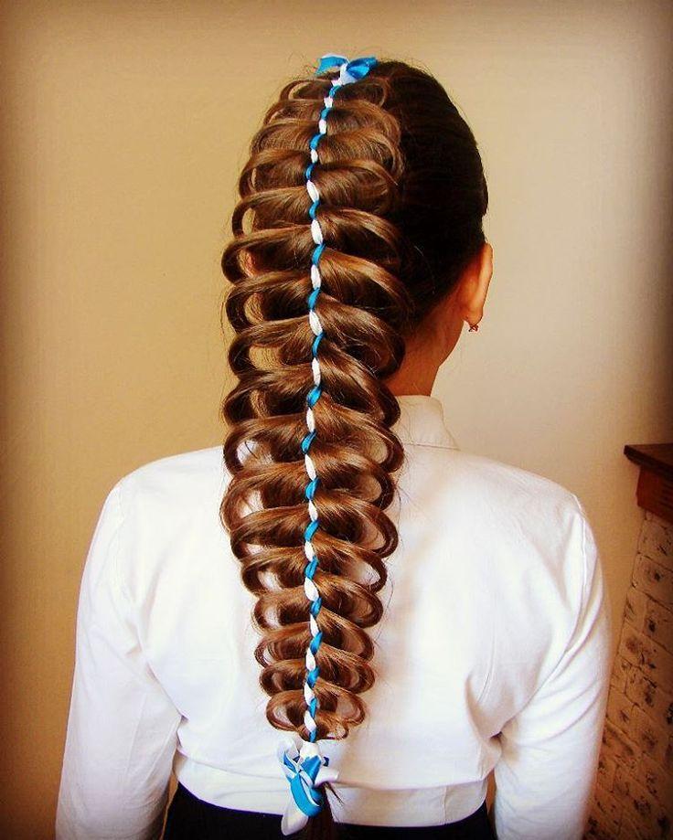 Коса ажурная из пяти прядей две из которых ленты#Elvira_Alexa #trenza #peinado #hairstyle #hair_tutorial #hair #коса_с_летой #коса_воздушная#обучение #косы_сыктывкар
