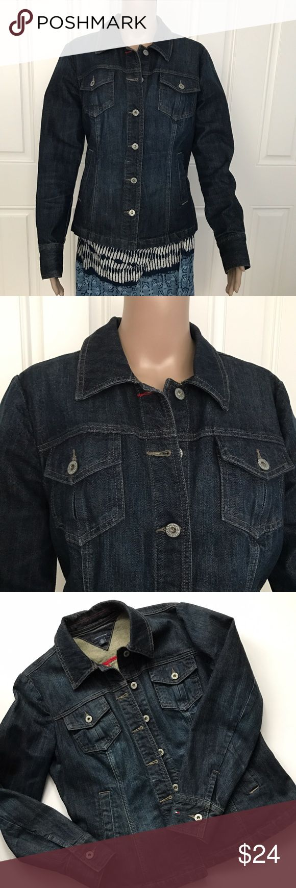 """Tommy Hilfiger Stretch Dark Blue Denim Jean Jacket Tommy Hilfiger woman Stretch Dark Blue Denim Jean Jacket, Slim Fit, Size L. 99% cotton and 1% elastane. Long sleeves, chest pockets, faux side pockets, button cuffs, tailored seams and stretchy dark wash denim conastruction. Approximate measurements (laying flat): bust (armpit to armpit) 20"""", shoulders 16.5"""", length 23"""", sleeve 25"""". Tommy Hilfiger Jackets & Coats Jean Jackets"""