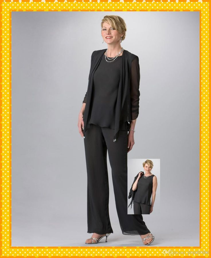 2016 Custom Sexy Black Three Piece Jacket Pant Suits Chiffon Mother Of The Bride Groom Pants Suits Dresses Evening Formal Dress Gowns Tea Length Mother Of The Groom Dresses Wedding Dresses For Mother Of The Groom From Yoyobridal, $88.85| Dhgate.Com