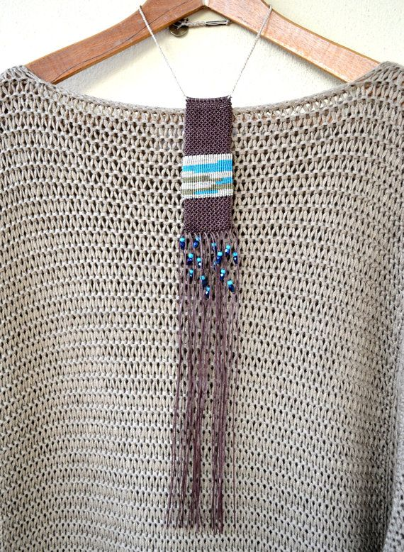 Macrame beaded long necklace with brown, beige, olive green and turquoise waxed…
