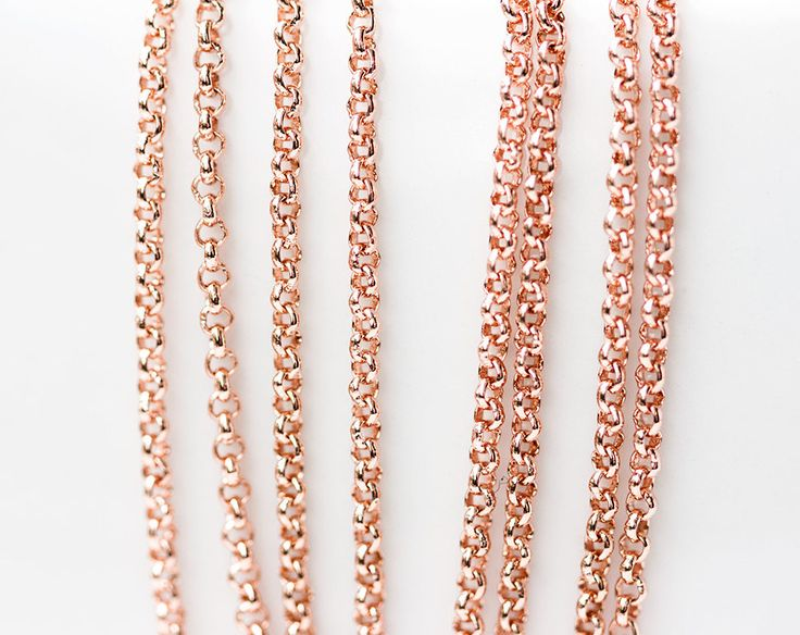 2629_Rose gold chain 1.6 mm, Rolo chain, Gold plated chain, Brass chain, Pink gold jewelry findings, Round link chain for jewelry making_1 m by PurrrMurrr on Etsy