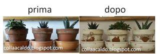 collaacaldo: Vasi di terracotta decorati in stile Shabby Chic
