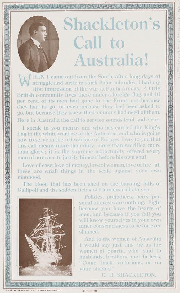 Recruitment poster: Shackleton urging men to enlist.