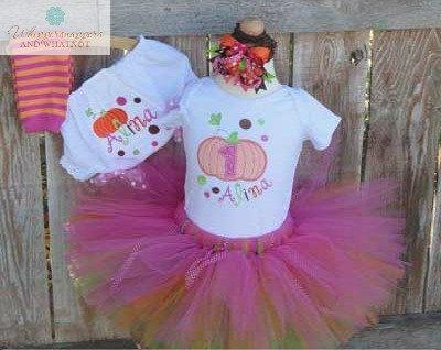 Pumpkin Shirt, Tutu & Bloomer Set - First Birthday - Birthday Tutu Set - Fall Birthday Outfit - Pumpkin Diaper Cover - monogrammed shirt