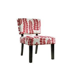 Powell Red and Cream Floral Oliver Accent Chair