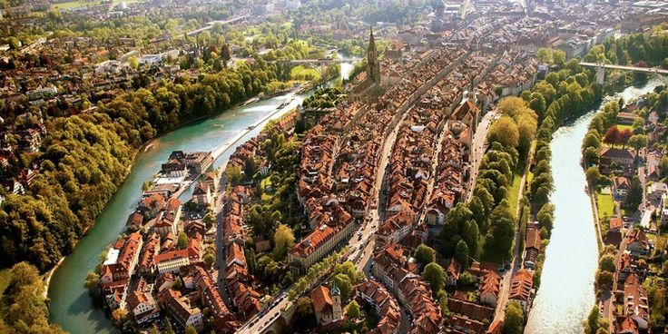 """Panorama picture from the oldtown with the river """"Aare"""""""