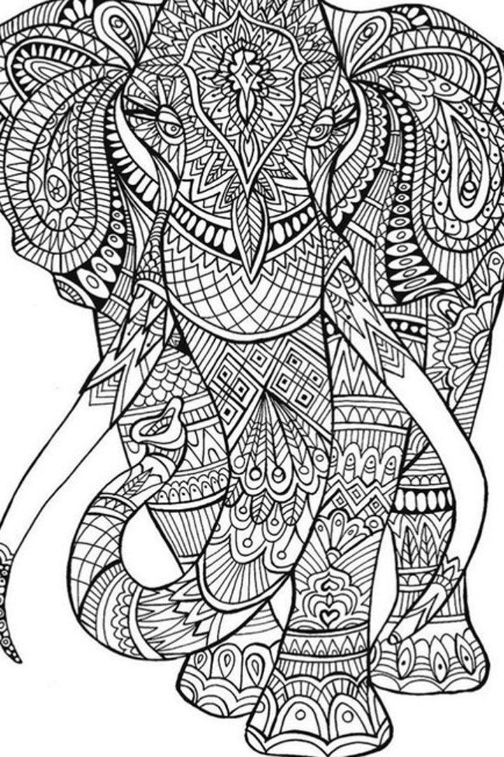 Adult Elephant Coloring Pages