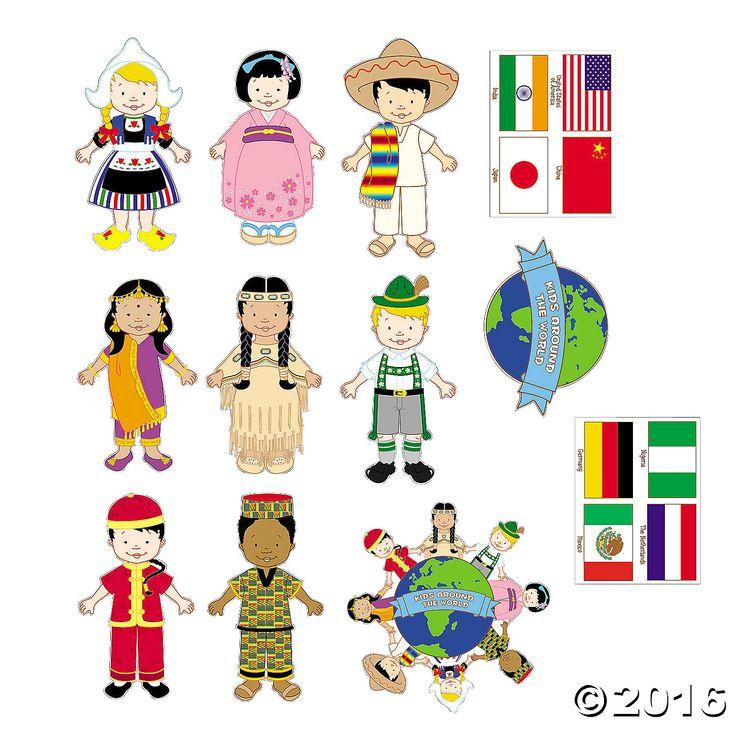 Jumbo Kids Around the World Cutouts - OrientalTrading.com