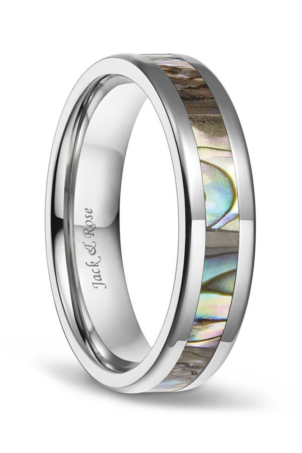 Abalone Shell Titanium Wedding Ring Sets For Men Women 6mm 8mm