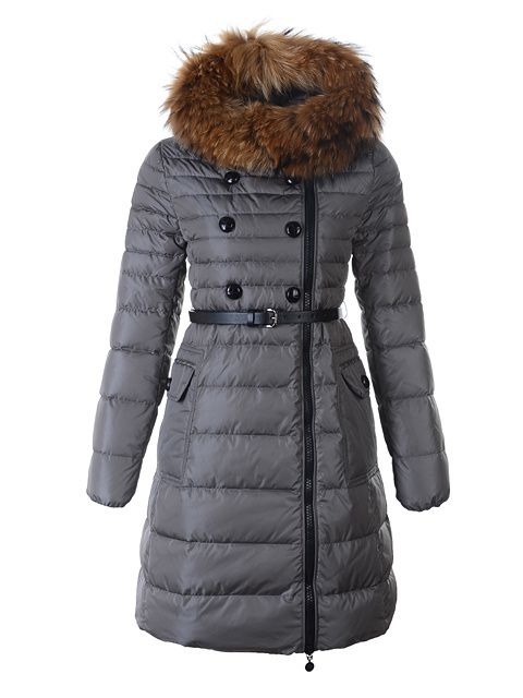 2012 Classic Herisson Moncler Women Long Coat Fur Collar Grey [2899833] -  £192.76