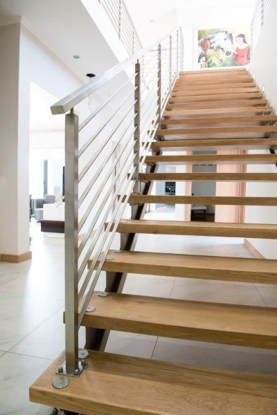 custom stainless steel staircase, timber treads, SANS compliant stainless steel balustrades