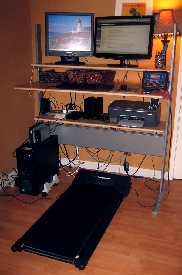Inexpensive Alternative to TreadDesk Treadmill. Here's my setup: I got an IKEA Fredrik desk off of Craigslist for free (lucky for me, it still looks brand new) and I configured it for standing height.  Then I purchased the Confidence Power Plus Treadmill ($239) and the handlebars appeared to be easy to disassemble completely. Verdict: I couldn't be happier!