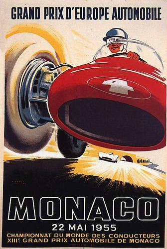 Grand Prix de Monaco 1955 Vintage Poster