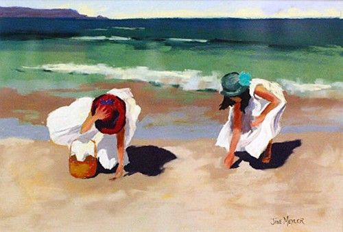 "Jane Meyler, ""Shell Pickers"" #art #summer #'beach #seashells #painting #girls #waves #water #DukeStreetGallery"