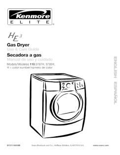 110.97892601 Kenmore Elite HE3 Gas Clothes Dryer Manual in
