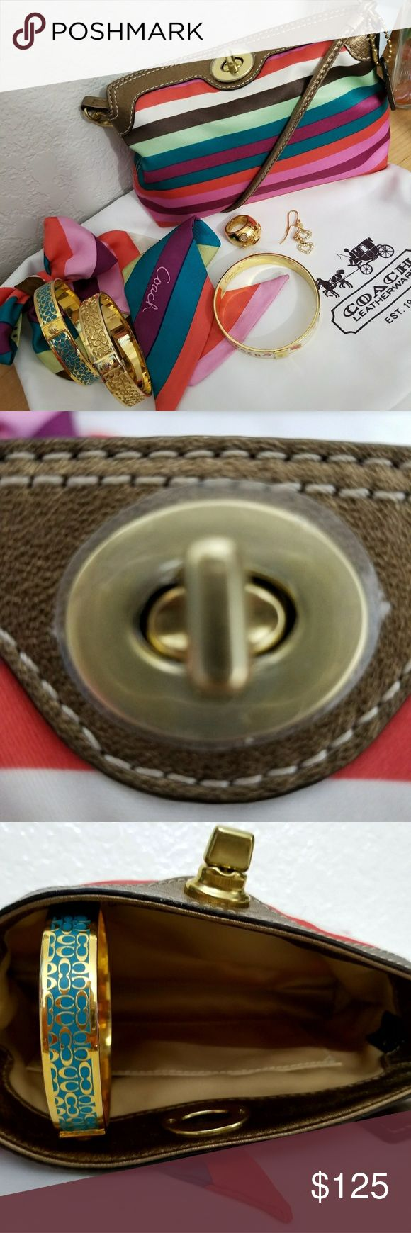 """🔖Vintage HTF Coach Legacy Turn Lock Wristlet Vintage HTF Coach Legacy Turn Lock Wristlet NWOT! Never been used! Use as a Wristlet or a small bag. No tears, rips or odors. Very clean colors are gorgeous! Print is Legacy Scarf Print. Metallic bronze leather trim and strap. Turn Lock and fold down. There is a leather hang tag, metal tag. Inside is sateen. 5"""" H, 7"""" L, 2.5 D. Perfect to fit your necessities for a night out! Coach Bags Clutches & Wristlets"""