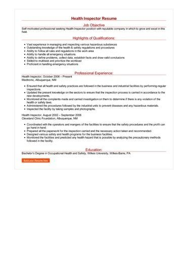 Health Inspector Resume Back To Work Pinterest