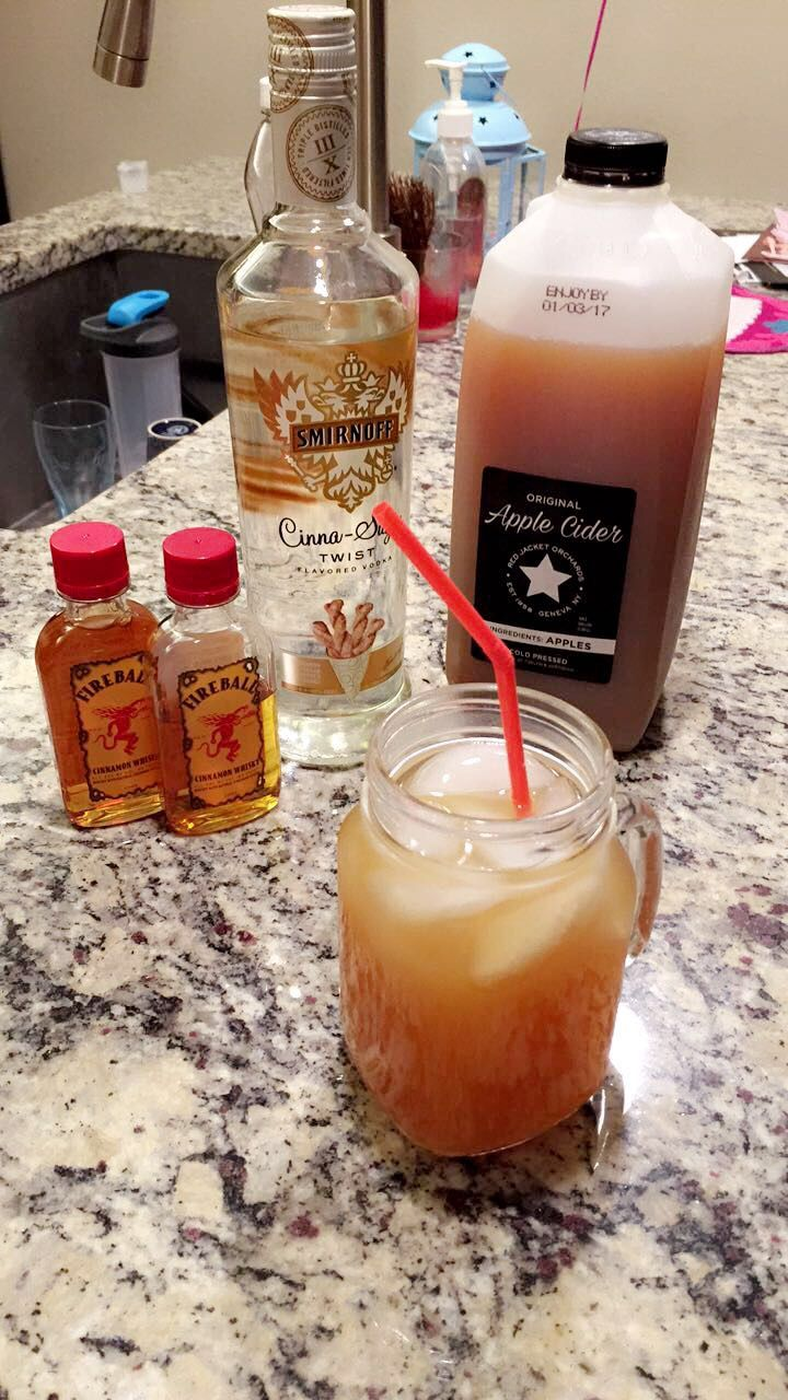 Two shots Cinna-Sugar twist Smirnoff vodka, One shot Fireball whiskey, 8 oz Apple Cider (or Mott's natural apple juice), add dash of cinnamon. Serve warm, or over ice.