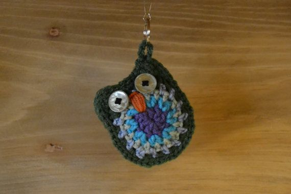 Crochet Owl Keychain Blue Green Purple Stocking by LittlestSister