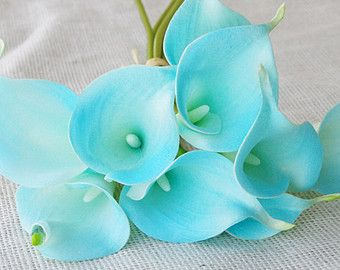 Aruba Tiffany Natural Touch Calla Lily Stem or Bundle for Turquoise Silk Wedding Bouquets, Centerpieces, Decorations and more