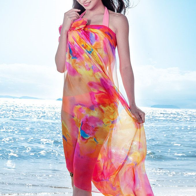 Large Floral Summer Beach Silk Shawl Scarf - Red
