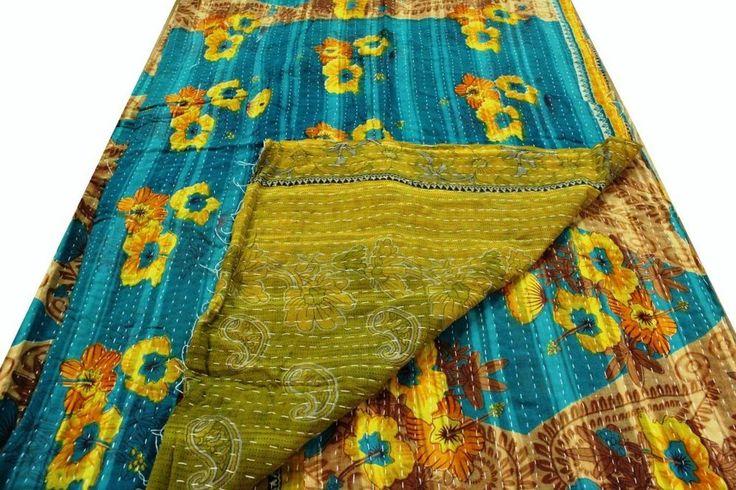 Magic Carpet Handmade Kantha Quilt Throw Indian Bedding Twin Size Picnic Throw #Handmade #Bohemian