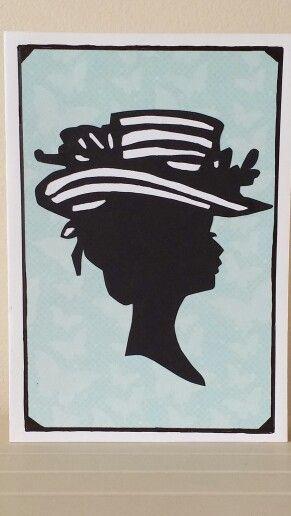 Vintage Fashion Silhouette Greeting Card #vintage #fashion #lady #silhouette #greetingcard #handmadecards #petalsandperfumecards