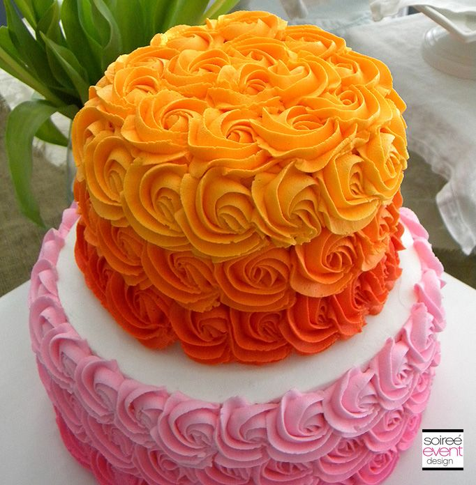 ombre cake. i like the red and orange, not the yellow. just fade to cream would be better