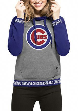 428d4bc76  47 Chicago Cubs Womens Grey Encore Revolve Hoodie  chicagocubsbaseball.