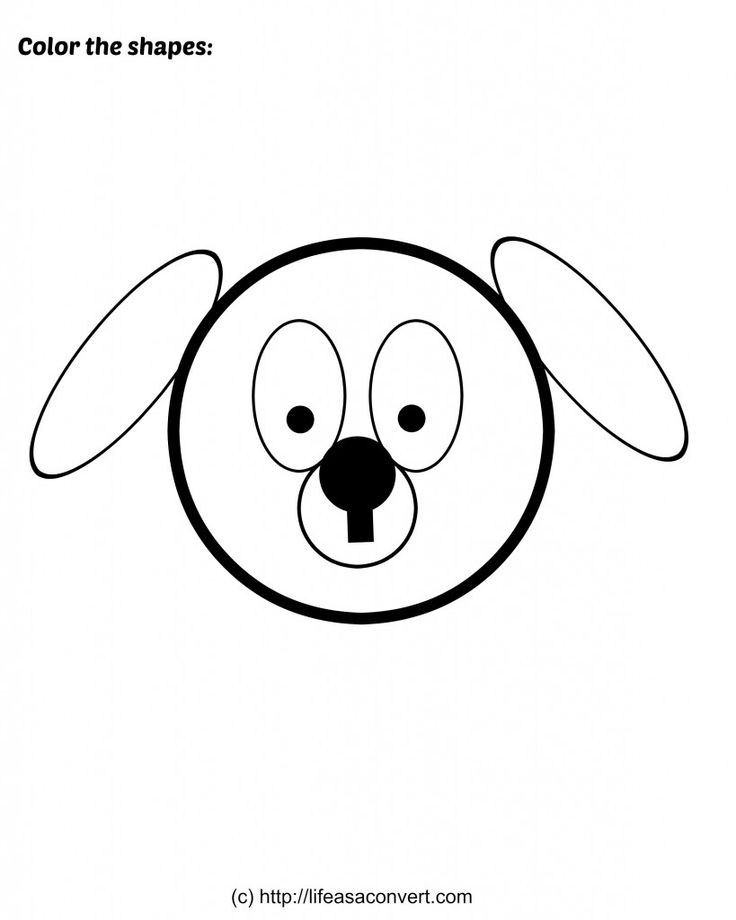Printable Shape Worksheets Coloring Page Puppy