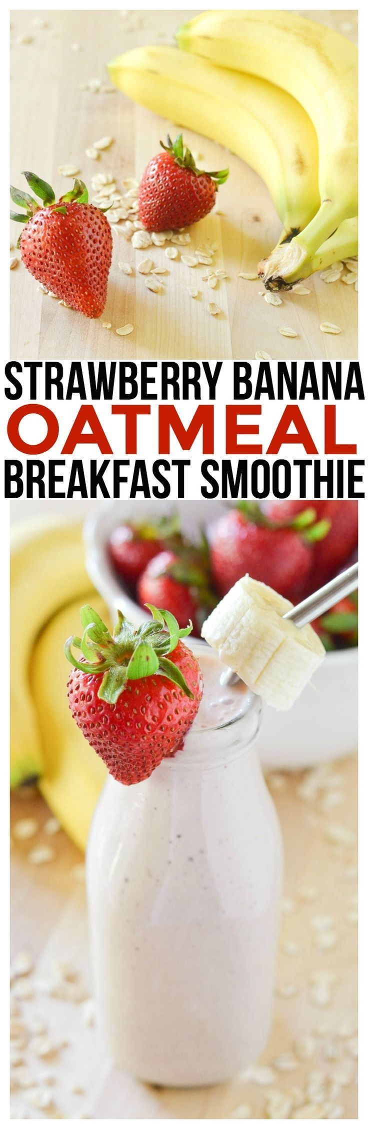 Make this strawberry banana oatmeal smoothie breakfast recipe. One of the easiest smoothie recipes for kids and adults. Quick and easy breakfast recipe! via /KnowYourProduce/