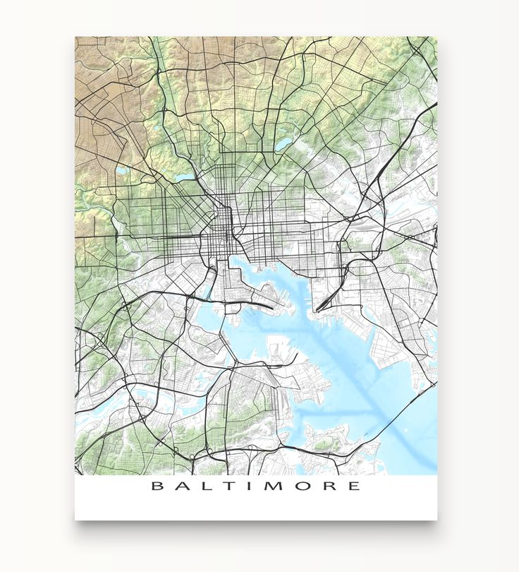 Baltimore Map Print, Maryland, Landscape collection.